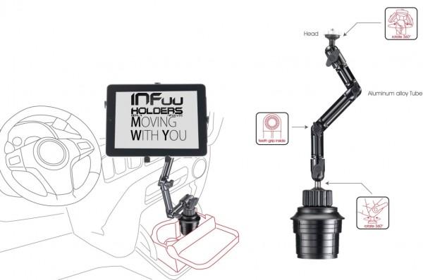 "KFZ Metall Becherhalterung Getränkehalter Aluminium für Tablet 10-15 Zoll Apple iPad Book Pro 12,9"""
