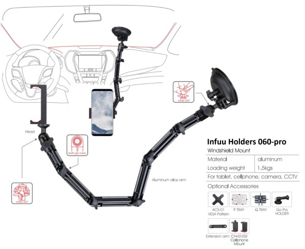 Car Mount long with suction cup for Smartphone Mobile Phone 060-pro