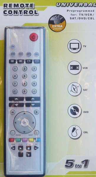 Universal Fernbedienung 5in1 TV, VCR, SAT, DVD, CBL Remote Control