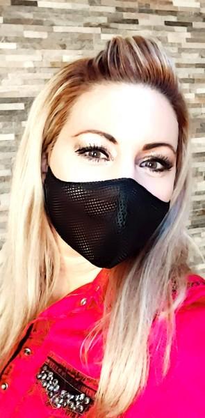 Activ-Mask schwarz zweilagig grobmaschig weitmaschig Mund-Nase-Bedeckung Attrappe