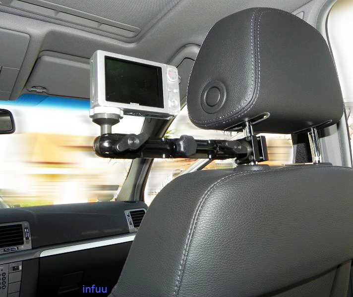 kfz kamera camcorder kopfst tzenhalterung halter befestigung fotostativ auto kamera infuu. Black Bedroom Furniture Sets. Home Design Ideas
