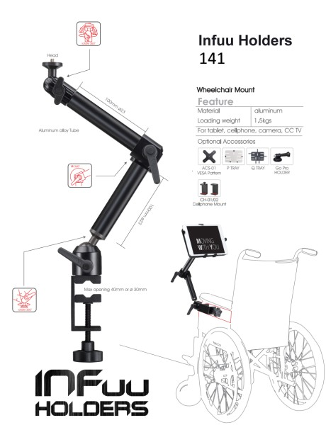 Bracket for Wheelchair iPad Galaxy Tab Note Tablet PC for Table Tube Clamp