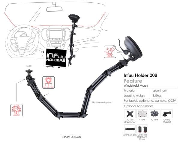 Car iPad Galaxy Tab Tablet-PC holder WINDSHIELD MOUNTING
